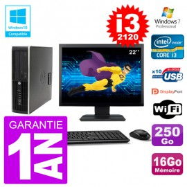 "PC HP 6200 SFF Ecran 22"" Intel i3-2120 RAM 16Go Disque 250Go Graveur DVD Wifi W7"