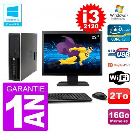 "PC HP 6200 SFF Ecran 22"" Intel i3-2120 RAM 16Go Disque 2To Graveur DVD Wifi W7"