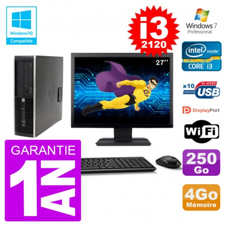 "PC HP 6200 SFF Ecran 27"" Intel i3-2120 RAM 4Go Disque 250Go Graveur DVD Wifi W7"