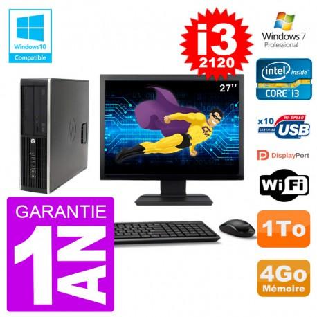 "PC HP 6200 SFF Ecran 27"" Intel i3-2120 RAM 4Go Disque 1To Graveur DVD Wifi W7"