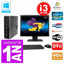 "PC HP 6200 SFF Ecran 27"" Intel i3-2120 RAM 4Go Disque 2To Graveur DVD Wifi W7"