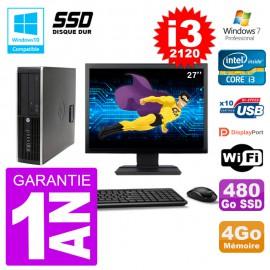 "PC HP 6200 SFF Ecran 27"" Intel i3-2120 RAM 4Go SSD 480Go Graveur DVD Wifi W7"