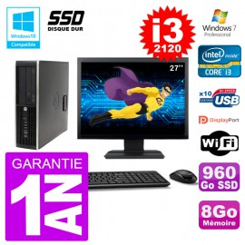 "PC HP 6200 SFF Ecran 27"" Intel i3-2120 RAM 8Go SSD 960Go Graveur DVD Wifi W7"