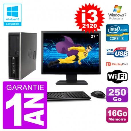 "PC HP 6200 SFF Ecran 27"" Intel i3-2120 RAM 16Go Disque 250Go Graveur DVD Wifi W7"