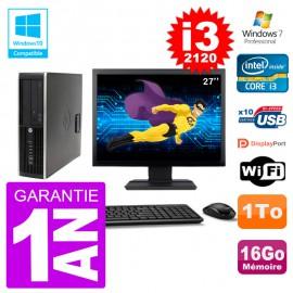 "PC HP 6200 SFF Ecran 27"" Intel i3-2120 RAM 16Go Disque 1To Graveur DVD Wifi W7"