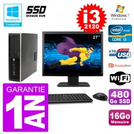 "PC HP 6200 SFF Ecran 27"" Intel i3-2120 RAM 16Go SSD 480Go Graveur DVD Wifi W7"