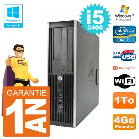 PC HP 6200 SFF Intel i5-2400 RAM 4Go Disque 1To Graveur DVD Wifi W7