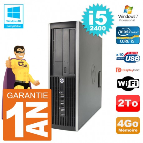 PC HP 6200 SFF Intel i5-2400 RAM 4Go Disque 2To Graveur DVD Wifi W7