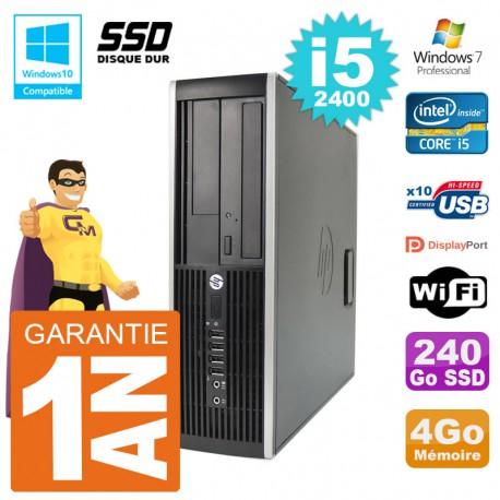 PC HP 6200 SFF Intel i5-2400 RAM 4Go SSD 240Go Graveur DVD Wifi W7
