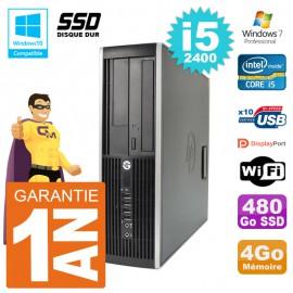 PC HP 6200 SFF Intel i5-2400 RAM 4Go SSD 480Go Graveur DVD Wifi W7