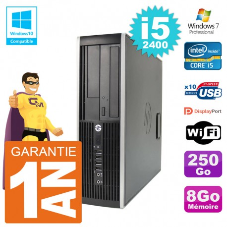 PC HP 6200 SFF Intel i5-2400 RAM 8Go Disque 250Go Graveur DVD Wifi W7