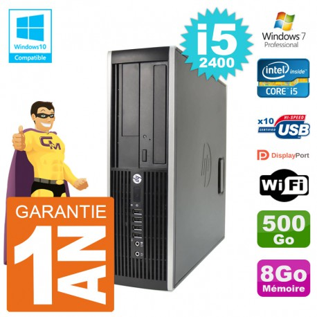 PC HP 6200 SFF Intel i5-2400 RAM 8Go Disque 500Go Graveur DVD Wifi W7