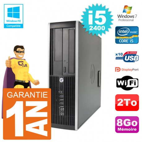 PC HP 6200 SFF Intel i5-2400 RAM 8Go Disque 2To Graveur DVD Wifi W7