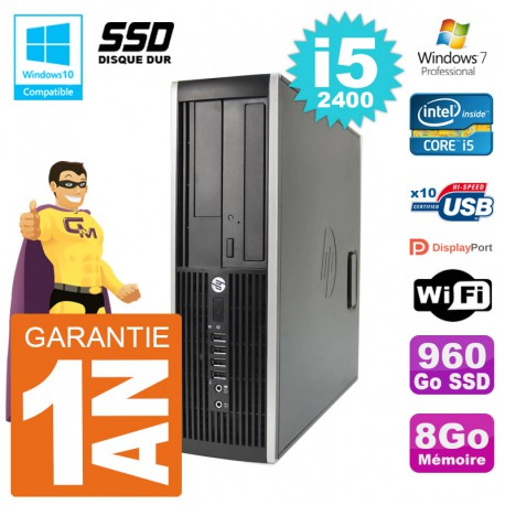 PC HP 6200 SFF Intel i5-2400 RAM 8Go SSD 960Go Graveur DVD Wifi W7