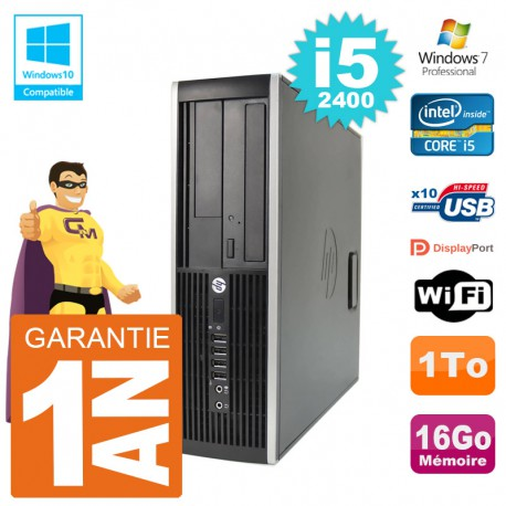 PC HP 6200 SFF Intel i5-2400 RAM 16Go Disque 1To Graveur DVD Wifi W7