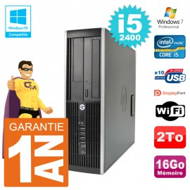 PC HP 6200 SFF Intel i5-2400 RAM 16Go Disque 2To Graveur DVD Wifi W7