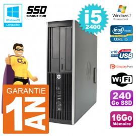 PC HP 6200 SFF Intel i5-2400 RAM 16Go SSD 240Go Graveur DVD Wifi W7