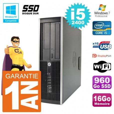 PC HP 6200 SFF Intel i5-2400 RAM 16Go SSD 960Go Graveur DVD Wifi W7