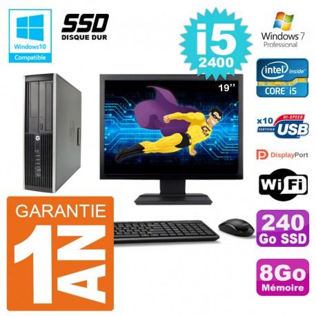 "PC HP 6200 SFF Ecran 19"" Intel i5-2400 RAM 8Go SSD 240Go Graveur DVD Wifi W7"