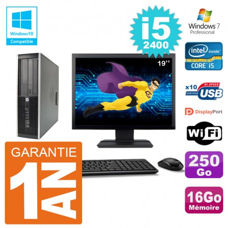 "PC HP 6200 SFF Ecran 19"" Intel i5-2400 RAM 16Go Disque 250Go Graveur DVD Wifi W7"