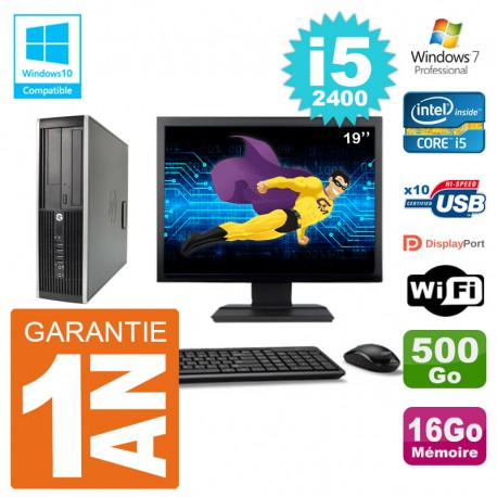 "PC HP 6200 SFF Ecran 19"" Intel i5-2400 RAM 16Go Disque 500Go Graveur DVD Wifi W7"