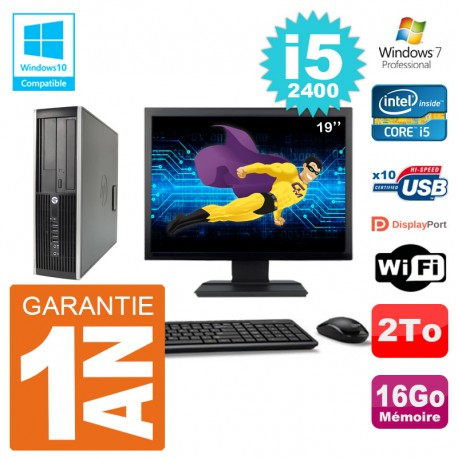 "PC HP 6200 SFF Ecran 19"" Intel i5-2400 RAM 16Go Disque 2To Graveur DVD Wifi W7"