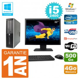 "PC HP 6200 SFF Ecran 22"" Intel i5-2400 RAM 4Go Disque 500Go Graveur DVD Wifi W7"