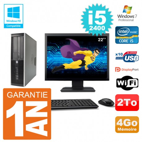 "PC HP 6200 SFF Ecran 22"" Intel i5-2400 RAM 4Go Disque 2To Graveur DVD Wifi W7"