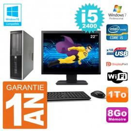 "PC HP 6200 SFF Ecran 22"" Intel i5-2400 RAM 8Go Disque 1To Graveur DVD Wifi W7"
