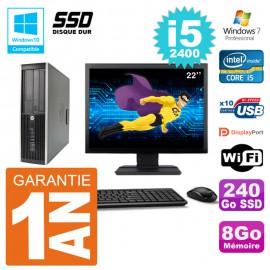 "PC HP 6200 SFF Ecran 22"" Intel i5-2400 RAM 8Go SSD 240Go Graveur DVD Wifi W7"
