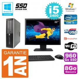 "PC HP 6200 SFF Ecran 22"" Intel i5-2400 RAM 8Go SSD 960Go Graveur DVD Wifi W7"