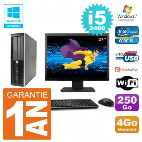 "PC HP 6200 SFF Ecran 27"" Intel i5-2400 RAM 4Go Disque 250Go Graveur DVD Wifi W7"