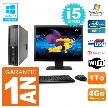 "PC HP 6200 SFF Ecran 27"" Intel i5-2400 RAM 4Go Disque 1To Graveur DVD Wifi W7"