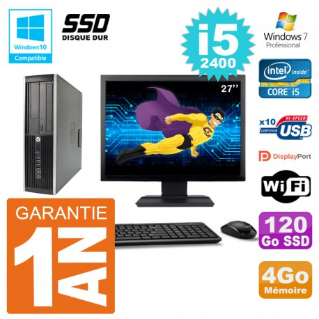 "PC HP 6200 SFF Ecran 27"" Intel i5-2400 RAM 4Go SSD 120Go Graveur DVD Wifi W7"
