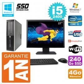 "PC HP 6200 SFF Ecran 27"" Intel i5-2400 RAM 4Go SSD 240Go Graveur DVD Wifi W7"