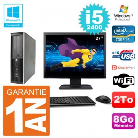 "PC HP 6200 SFF Ecran 27"" Intel i5-2400 RAM 8Go Disque 2To Graveur DVD Wifi W7"