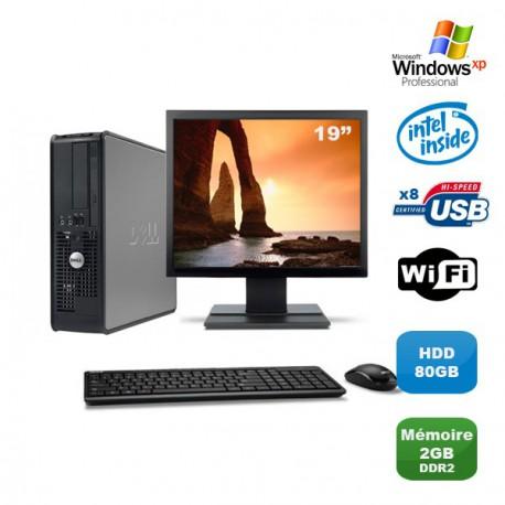 "Lot PC DELL Optiplex 760 SFF Pentium D 2.2Ghz 2Go 80Go WIFI XP Pro + Ecran 19"""