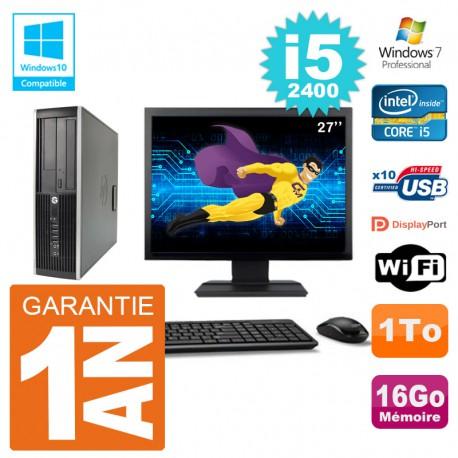 "PC HP 6200 SFF Ecran 27"" Intel i5-2400 RAM 16Go Disque 1To Graveur DVD Wifi W7"