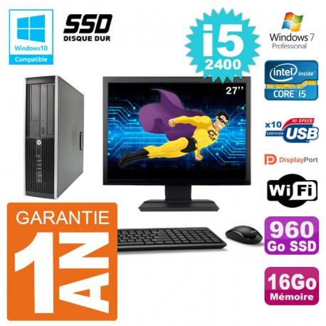 "PC HP 6200 SFF Ecran 27"" Intel i5-2400 RAM 16Go SSD 960Go Graveur DVD Wifi W7"