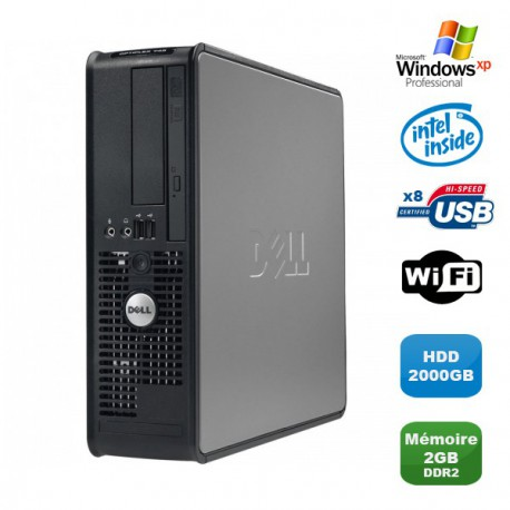 PC DELL Optiplex 760 SFF Pentium Dual Core E2200 2.2Ghz 2Go 2000Go WIFI XP Pro