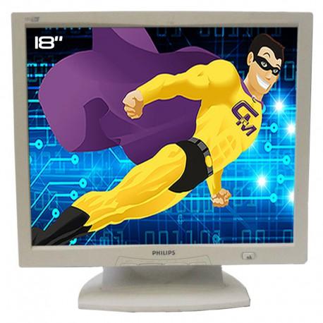 "Ecran Plat PC 18"" Philips 180B2 180B2S/00 LCD TFT VGA Audio IN 1280x1024 Blanc"