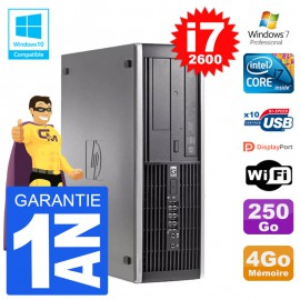 PC HP 6200 SFF Intel i7-2600 RAM 4Go Disque 250Go Graveur DVD Wifi W7