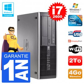 PC HP 6200 SFF Intel i7-2600 RAM 4Go Disque 2To Graveur DVD Wifi W7