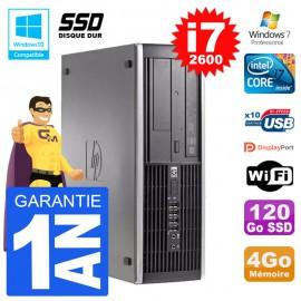 PC HP 6200 SFF Intel i7-2600 RAM 4Go SSD 120Go Graveur DVD Wifi W7