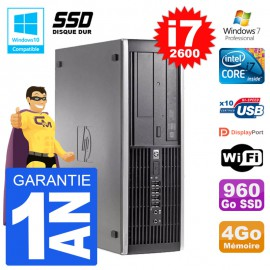 PC HP 6200 SFF Intel i7-2600 RAM 4Go SSD 960Go Graveur DVD Wifi W7