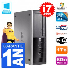 PC HP 6200 SFF Intel i7-2600 RAM 8Go Disque 1To Graveur DVD Wifi W7