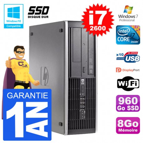 PC HP 6200 SFF Intel i7-2600 RAM 8Go SSD 960Go Graveur DVD Wifi W7