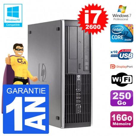 PC HP 6200 SFF Intel i7-2600 RAM 16Go Disque 250Go Graveur DVD Wifi W7