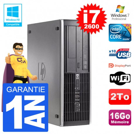 PC HP 6200 SFF Intel i7-2600 RAM 16Go Disque 2To Graveur DVD Wifi W7