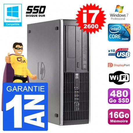 PC HP 6200 SFF Intel i7-2600 RAM 16Go SSD 480Go Graveur DVD Wifi W7